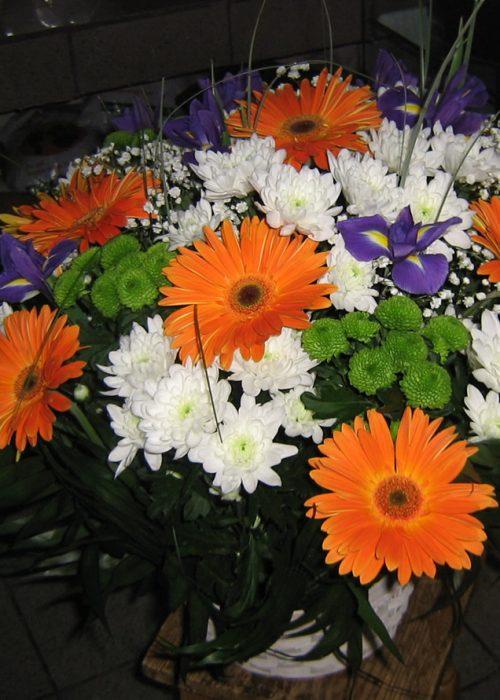 AFN-04 Aranjament in cos cu gerbera , iris ,crizanteme si v