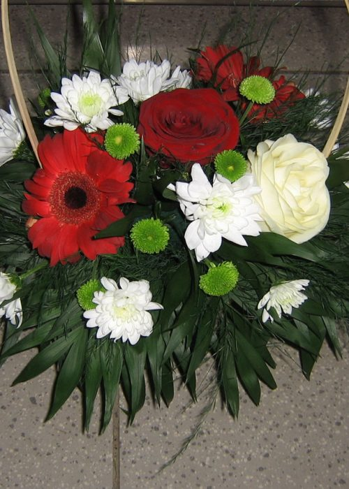 AFN-05 Aranjament in cos cu gerbera ,trandafiri ,crizanteme