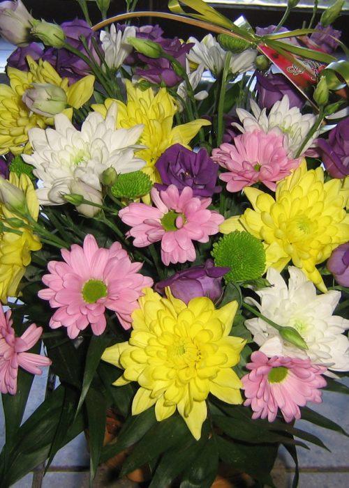 AFN-11 Aranjament in cos cu crizanteme , eustoma si verdeata