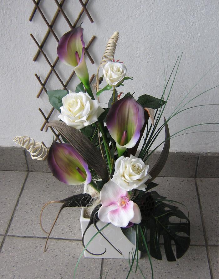 Aranjament Plante Uscate Si Flori Artificiale In Cub Ceramic
