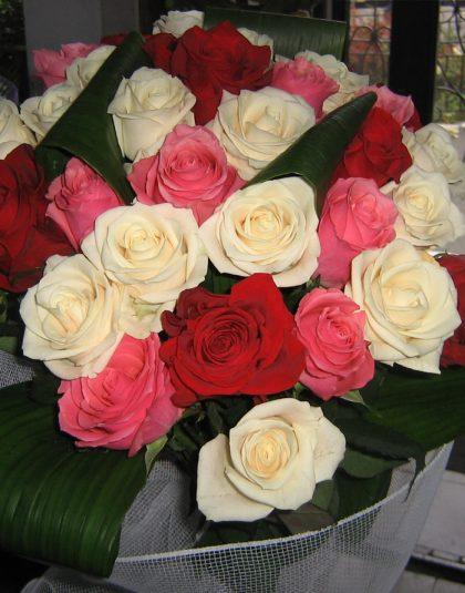 Buchet 29 trandafiri multicolor cu aspidistra si ambalaj