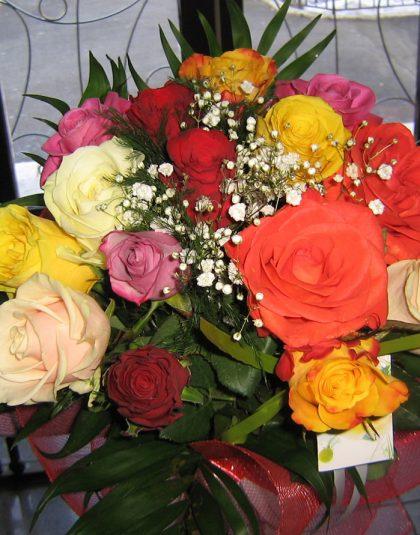 Buchet pe rotund cu 15 trandafiri multicolor, gypsophila