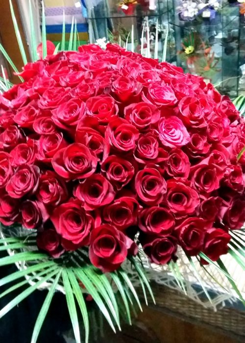 B-21 Buchet rotund 101 trandafiri rosii cu verdeata si ambalaj-730
